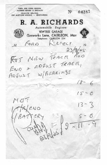 steve wilmot sent us this scan of a receipt from yew tree garage in gasworks lane caerleon he thinks that shortly after this date 23965 mr richards
