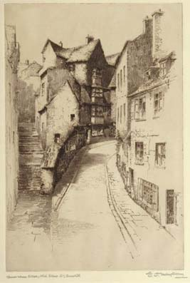 Christmas Steps Bristol Etching By E J Maybery