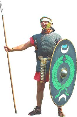 Military Gear on Video Clip Showing Roman Auxiliary