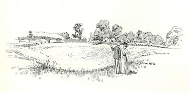 Remains of Amphitheatre Caerleon drawn by Samuel Loxton c. 1900