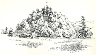 Castle Mound in the Mynde Caerleon drawn by Samuel Loxton c. 1900