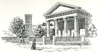 The Church and Museum Caerleon drawn by Samuel Loxton c. 1900