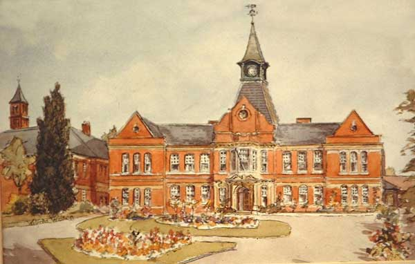 Walercolout painting of St Cadocs Hospital Caerleon by Wilfred Wilson.